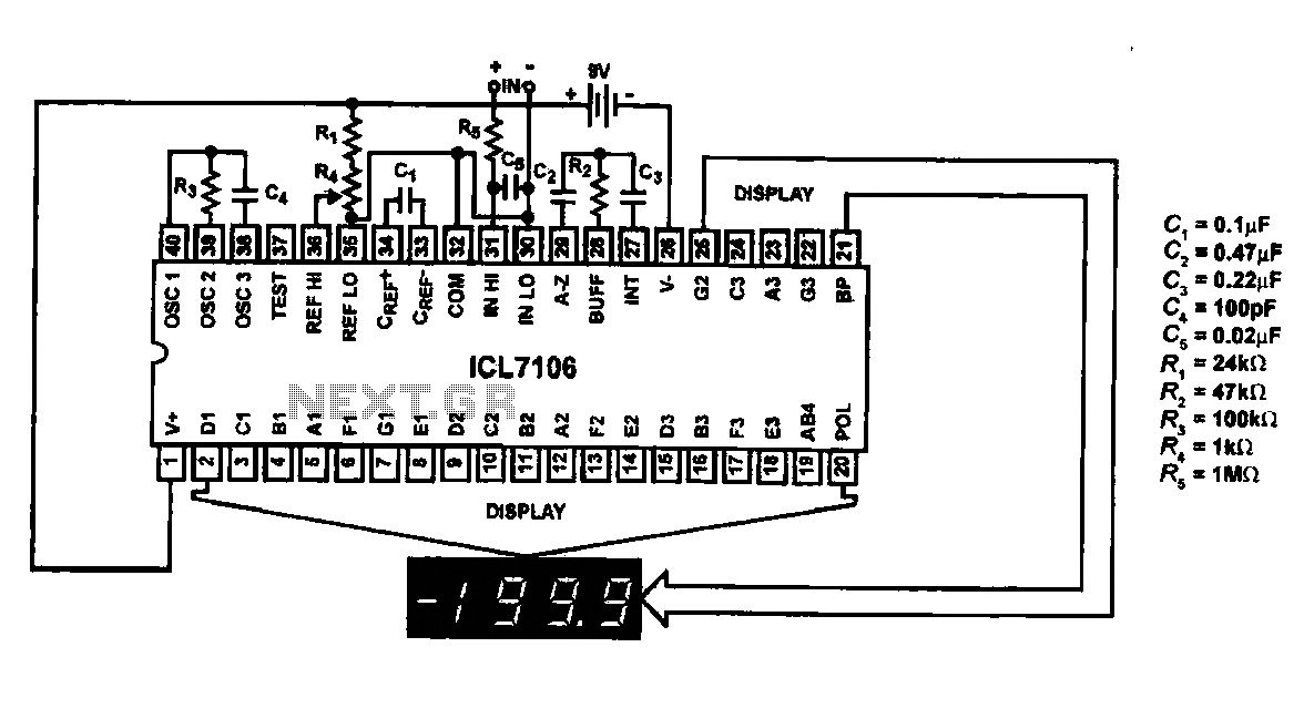 Using ICL7106-ICL7107 chip liquid crystal display circuit