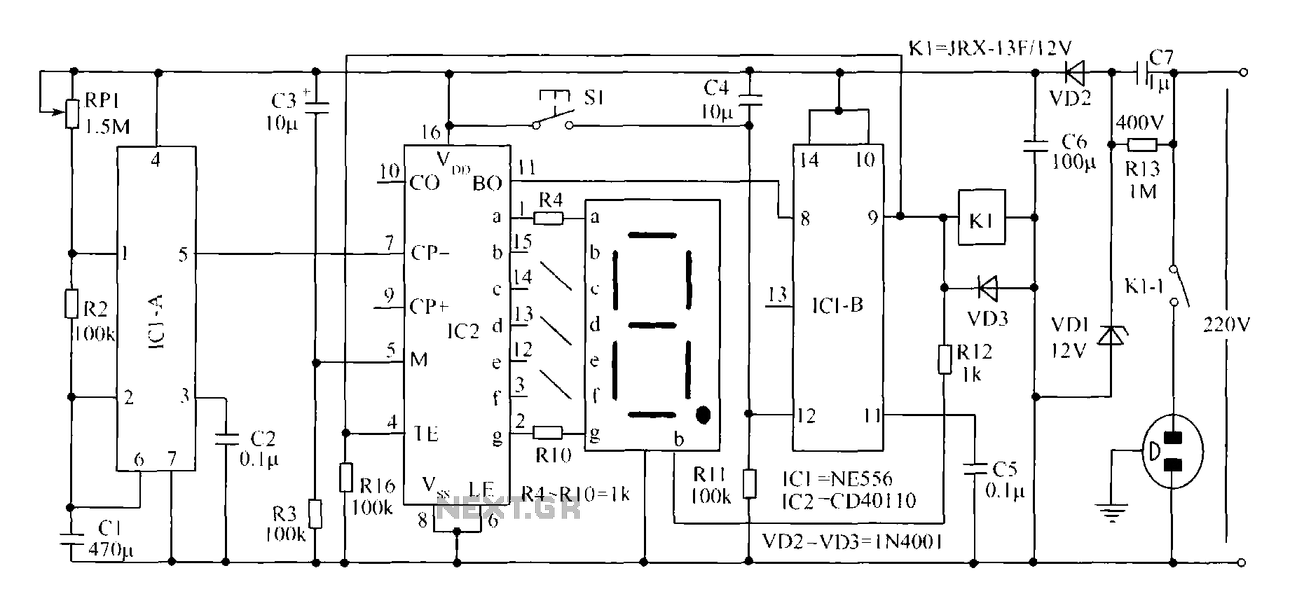 Novel circuit diagram of the timer switch - schematic