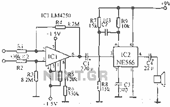 ECG telemetry circuit diagram - schematic