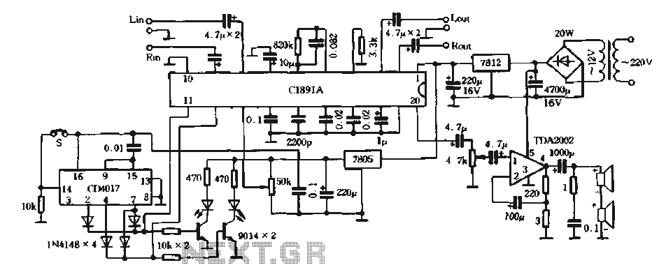 Home-made high-performance four-dimensional surround sound amplifier circuit - schematic