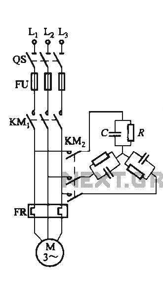 Single-speed motor excitation from the electrical braking circuit - schematic