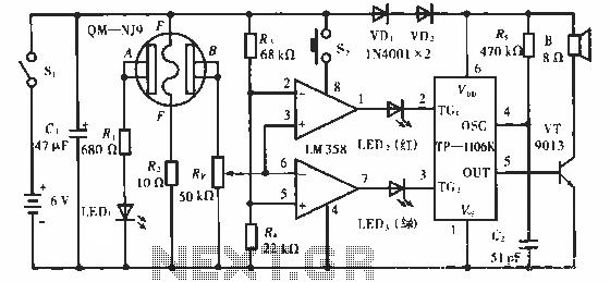 Portable alcohol detector alarm circuit - schematic
