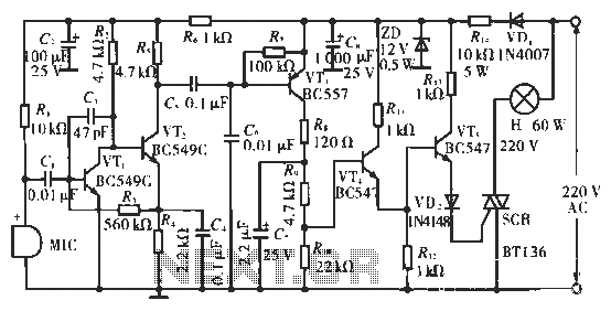 Ballroom synchronous voice switching circuit with music - schematic