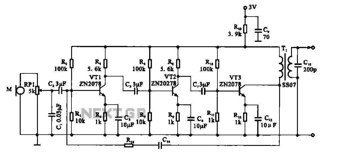 Recording signal amplifying transistor circuit - schematic