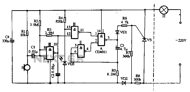 With a CD4011 dual-produced sound and light control delay lamp circuit - schematic