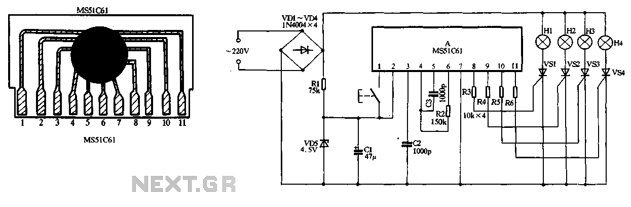 MS51C61 holiday lights ASIC circuit - schematic