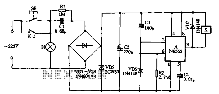 With NE555 making push-button delay section lamp circuit - schematic