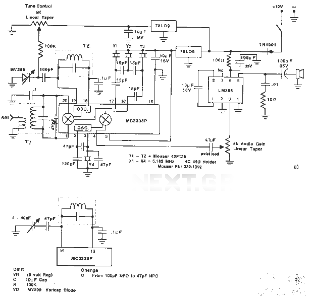 Receiver schematic design using MC3335PSSB