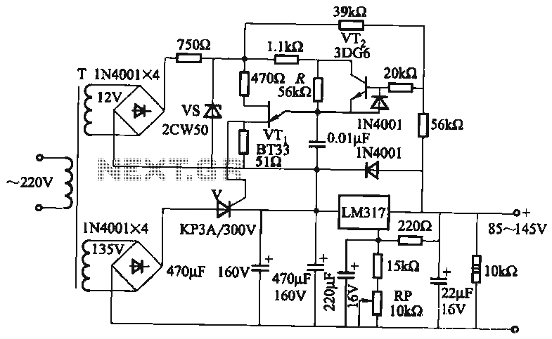 Output 85 to 145V adjustable power supply circuit - schematic