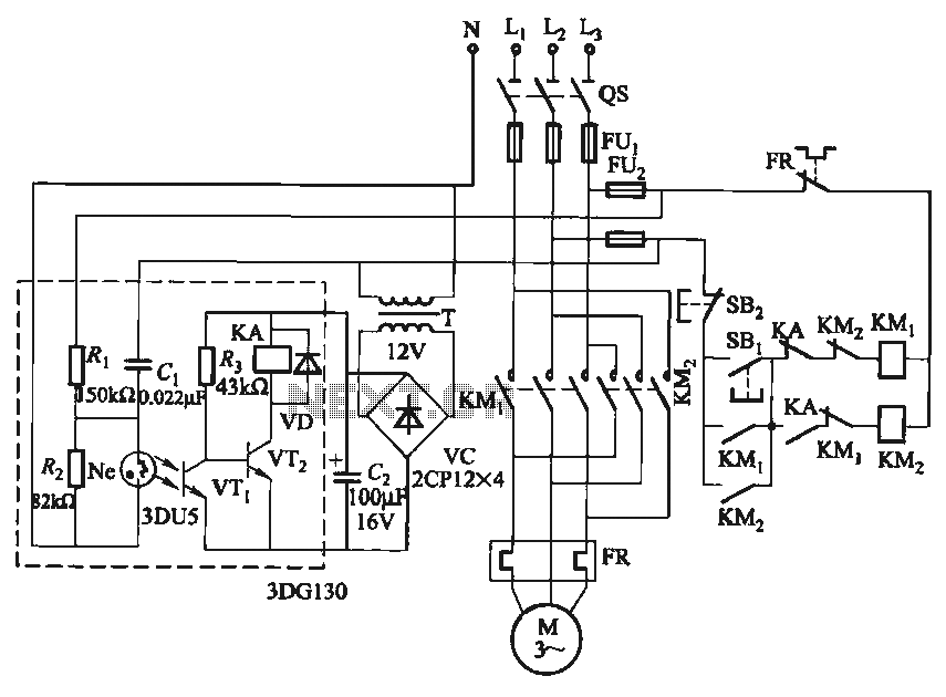 Only one-way operation of the automatic control circuit of the motor - schematic