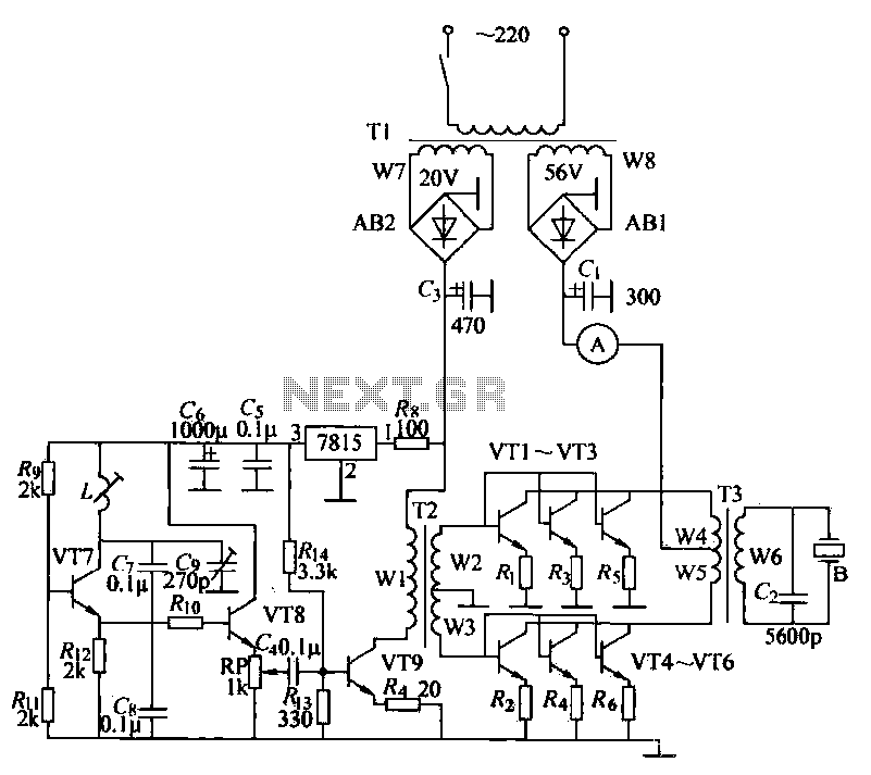 Ultrasonic drilling machine circuit - schematic