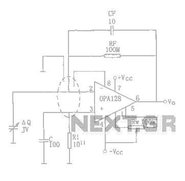 Charge amplifier circuit diagram OPA128
