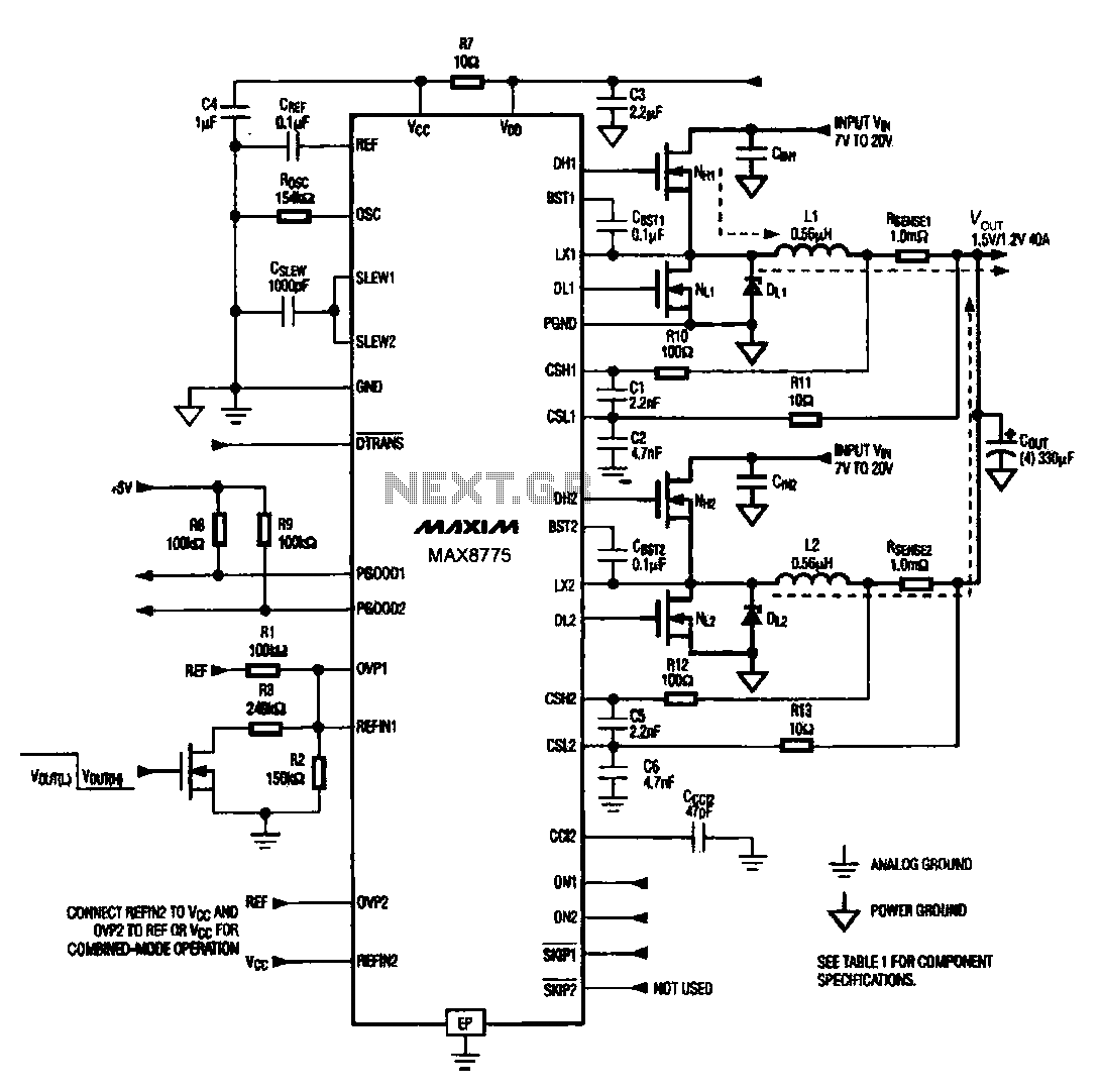 Notebook computer chip power supply circuit - schematic