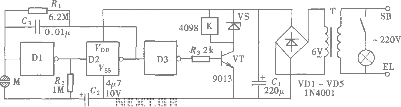 Door touch switch circuit (CD4069) schematic
