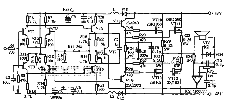 100W switching power amplifier circuit