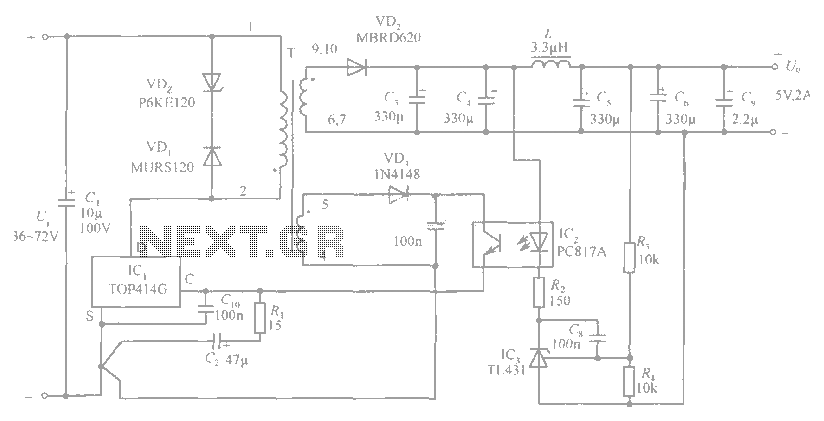 5V / 2A isolated switching power supply circuit diagram - schematic