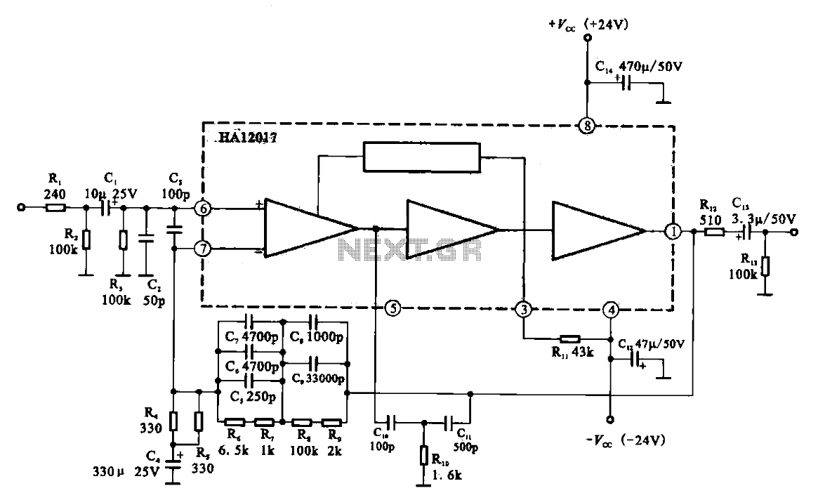 Low-noise preamplifier circuit - schematic