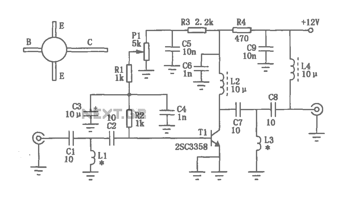 UHF amplifying circuit diagram - schematic