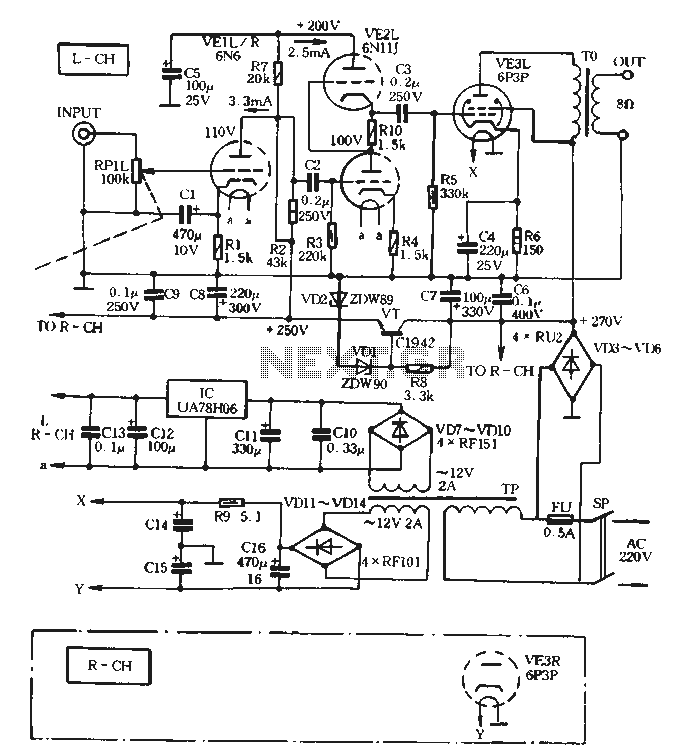 8W + 8W tube amplifier circuit - schematic