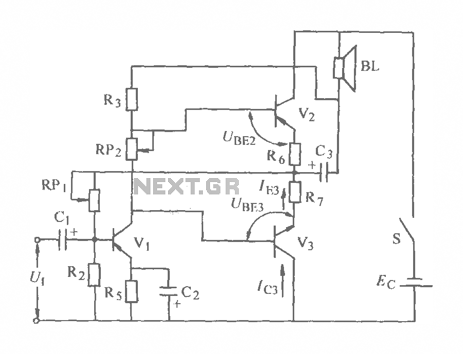 Auxiliary symmetric OTL power amplifier circuit diagram - schematic