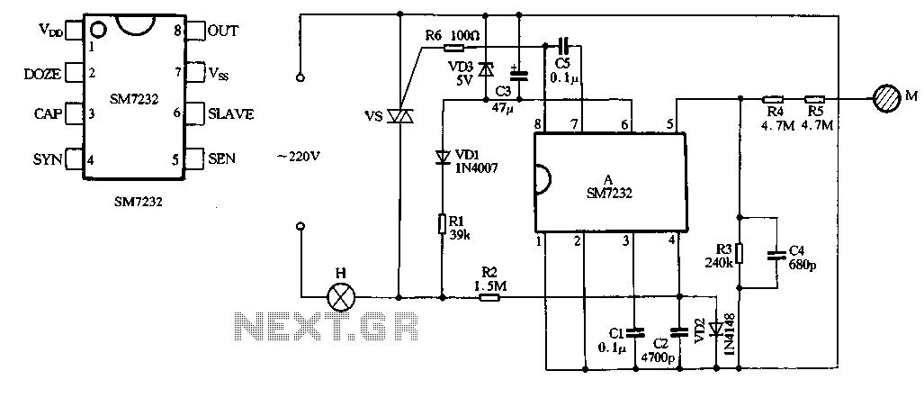 SM7232, CS7232 dimming control ASIC circuit - schematic