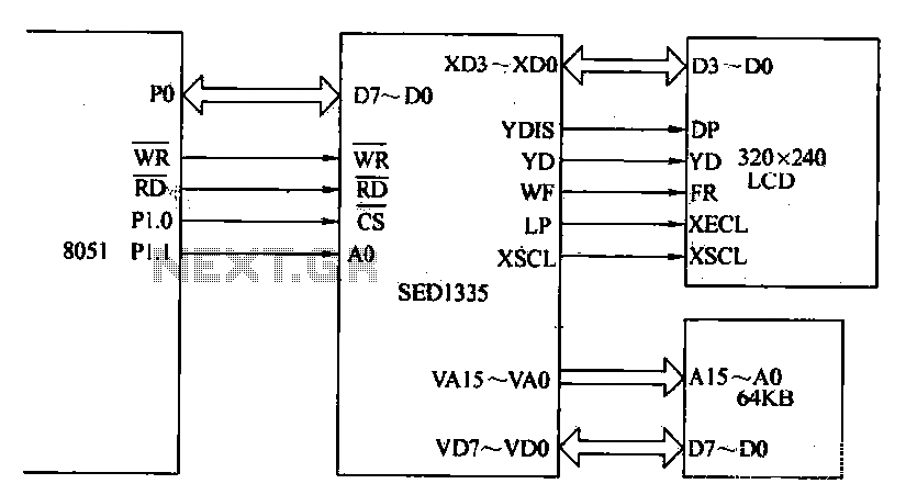 The interface circuit of dot matrix LCD display - schematic