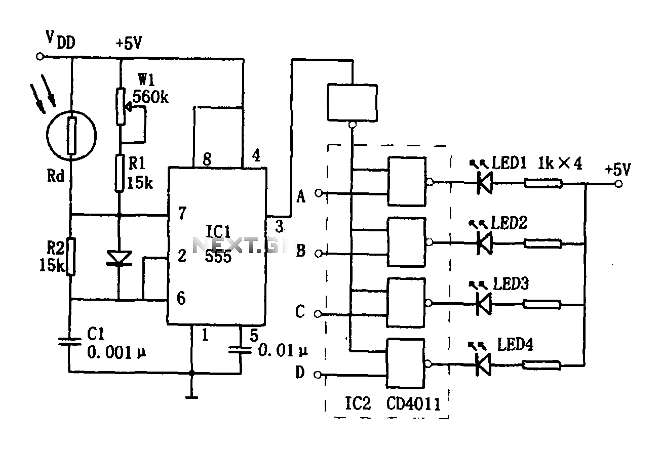 Brightness display circuit 555 - schematic