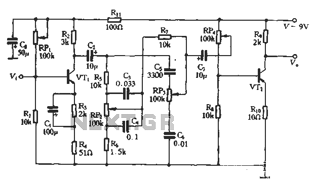 An attenuated tone control circuit diagram - schematic