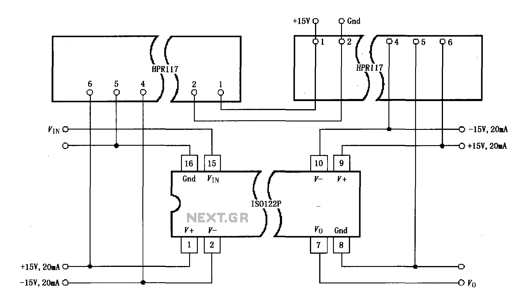 ISO122P / 124 power supply has a three-port isolation amplifier circuit diagram - schematic