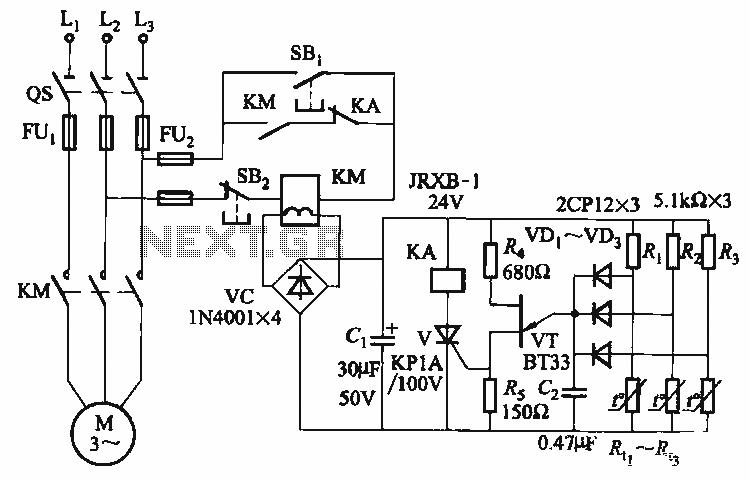 eight ptc phase asynchronous motor protection circuit