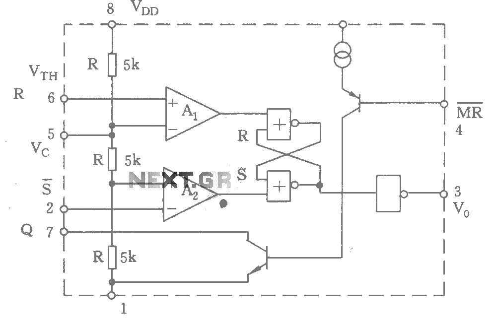555 functional equivalent circuit diagram - schematic