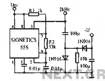 555 Voltage polarity reversal circuit diagram - schematic