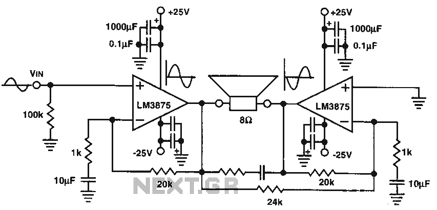 8w audio amplifier ic circuit   audio amplifier circuits