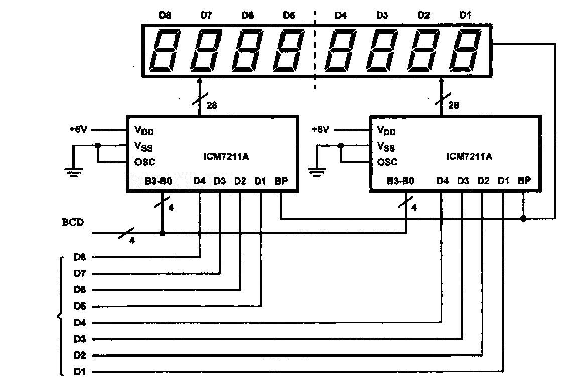 8 digital LCD display driver circuit - schematic