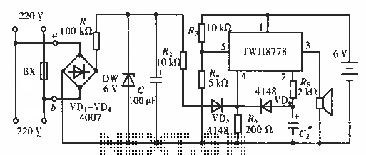 Multi power failure alarm circuit - schematic