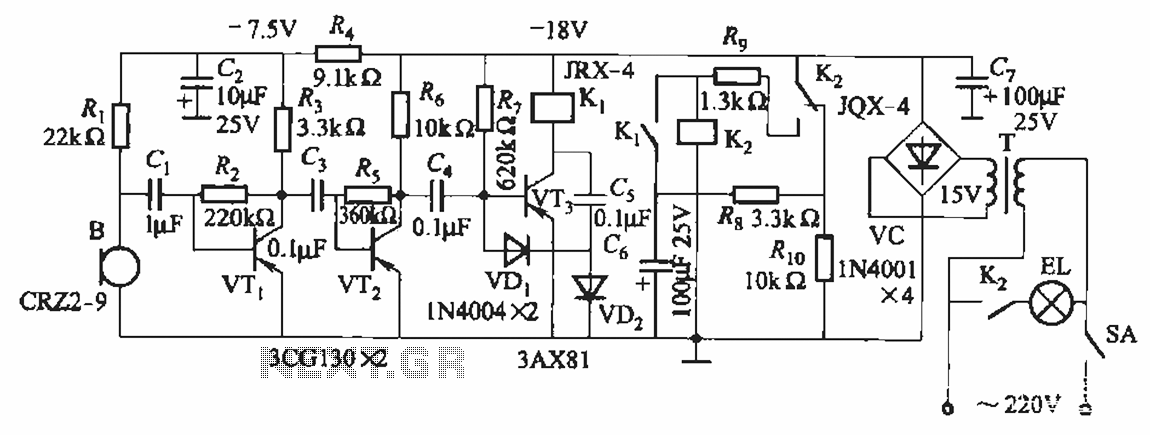 Using voice switch circuit relay lighting - schematic