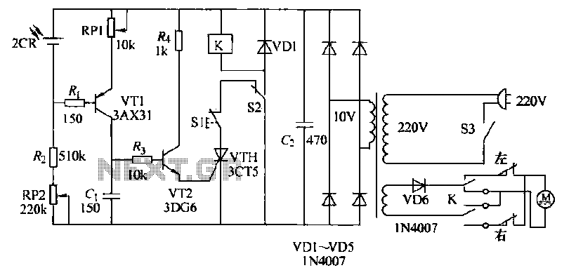 Automatic light control circuit curtains - schematic