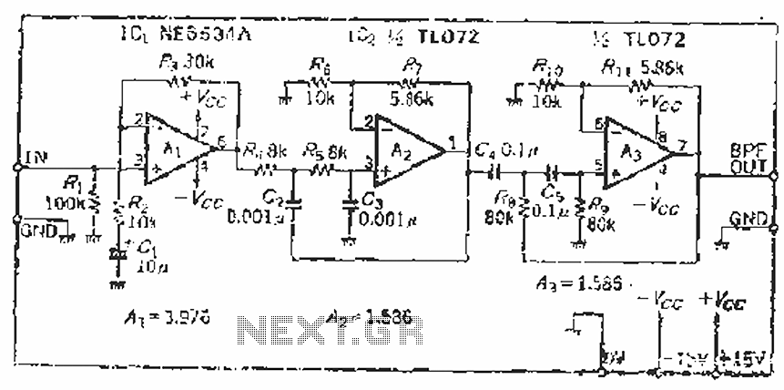 Measuring SN audio bandpass filter circuit - schematic