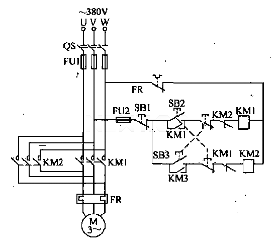 Double interlocking three-phase asynchronous motor control circuit - schematic