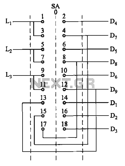 Switching two-speed motor control circuit - schematic