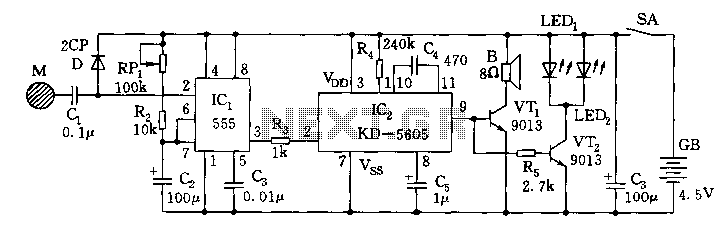 555 touch that is called a circuit diagram of the electronic toy cat - schematic