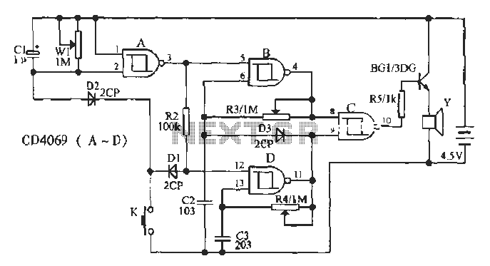 Two-tone doorbell circuit - schematic