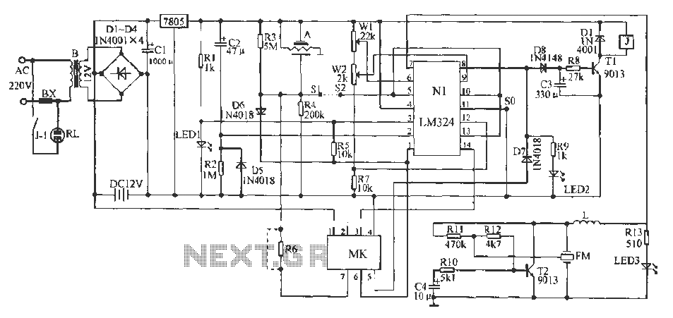 A typical one-shot circuit 555 - schematic