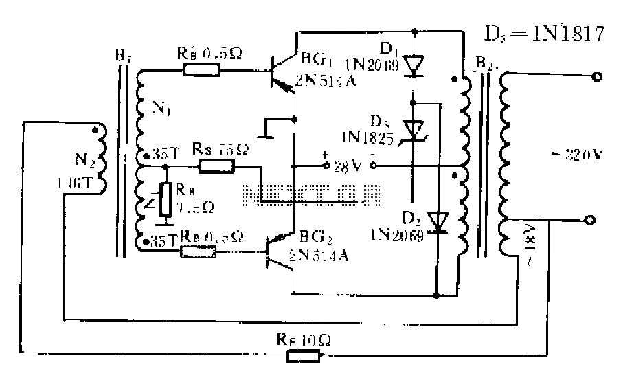 500W power inverter transistor circuit - schematic