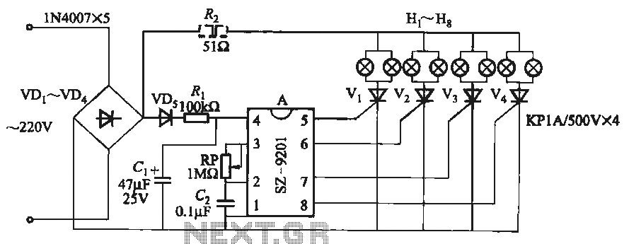 SZ-9201 uses three function lights chain circuit - schematic