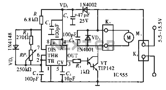 PWM DC motor speed control circuit - schematic