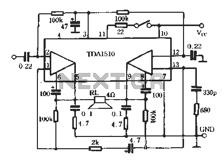 TDA1510 Power Amplifier Applications 02 - schematic