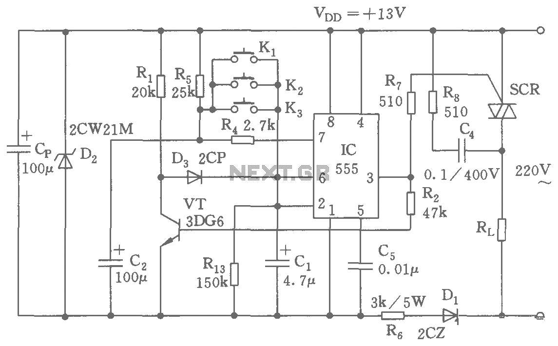 Multi-point circuit diagram of a remote control switch - schematic