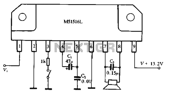 BTL amplifier circuit composed by M51516L IC - schematic