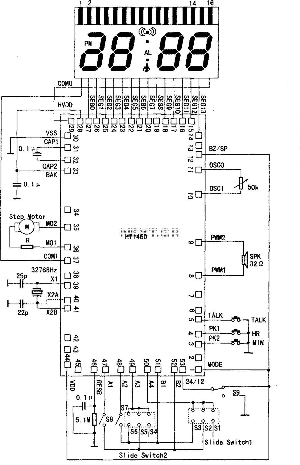 LCD series microprocessor circuit diagram of speech synthesis - schematic